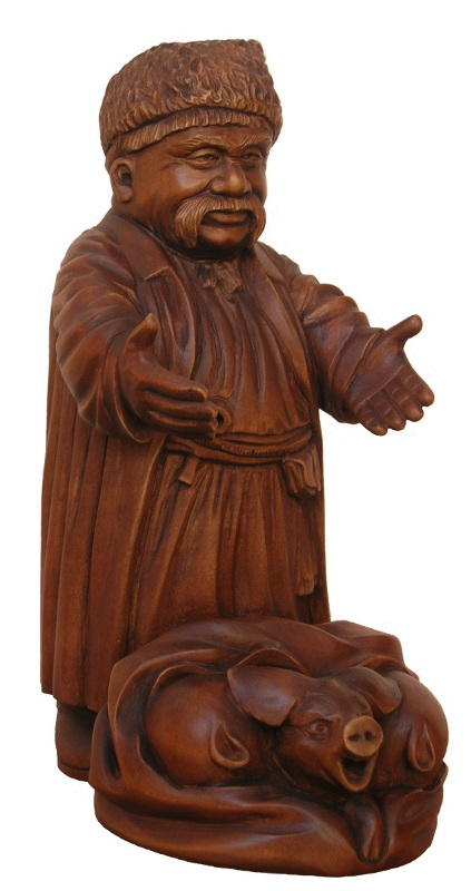 Куп порося деревянная скульптура